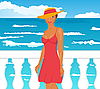 Vector clipart: girl on quay at the sea