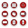Векторный клипарт: Красные кнопки с иконкой 9