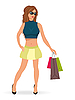 Vector clipart: beautiful shopping girl