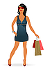 Vector clipart: fashion shopping girl with bag