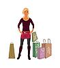 Векторный клипарт: мода торговый девушка с сумками
