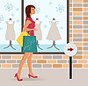 Vector clipart: modern girl loaded with shopping bags