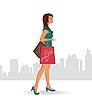 Векторный клипарт: Девушка с покупками