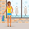 Vector clipart: modern girl with shopping bags