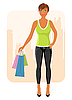 Vector clipart: girl with purchases goes around city