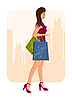 Vector clipart: girl with shopping bags, urban background