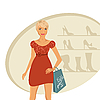 Vector clipart: fashion girl shopping in shoe shop