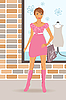 Vector clipart: fashion shopping girl near shop