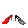 Векторный клипарт: Юмор обуви ласты, изолированные на белом