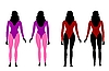 Vector clipart: Silhouettes of women in sportswear