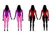 Silhouettes of women in sportswear