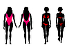 Vector clipart: Silhouettes of women in bathing suit