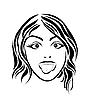 Векторный клипарт: Девушка тушении язык.