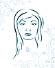 Vector clipart: floral background with girl face