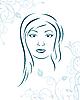 Векторный клипарт: цветочный фон с девушкой лицом