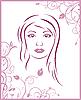 Векторный клипарт: Девушка лицу с цветами фона