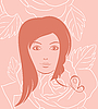 Vector clipart: girl face portrait on rose background