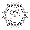 Vector clipart: vintage girl face in hat
