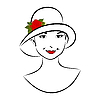 Vector clipart: vintage girl face in hat with rose