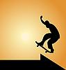 schwarze Silhouette eines Skateboarders mit Pfeil