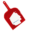 Векторный клипарт: Красный пластмассовый совок и наклейки