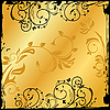 Vector clipart: gold floral square