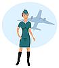Векторный клипарт: красивая стюардесса в аэропорту