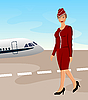 Vector clipart: beautiful stewardess at the airport