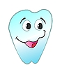 Vector clipart:  of happy smiling tooth is backgr
