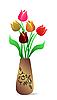 Красивая ваза с тюльпанами