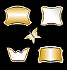 Vector clipart: set gold butterfly and ornate element design of bla
