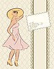Vector clipart: vintage girl with card, sketch style