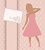 Векторный клипарт: старинные приглашения с девушкой, эскиз стиль