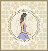 Vector clipart: vintage invitation with girl, sketch style