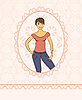 Vector clipart: sketch of a girl in vintage style