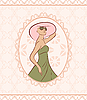 Vector clipart: vintage card with girl, sketch style
