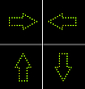 Vector clipart: set elements of green diode arrow for design