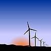 Vector clipart: wind generators of sunrise