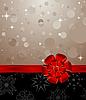 Векторный клипарт: новогодний фон с красным бантом
