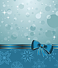 Vector clipart: Christmas background with blue bow