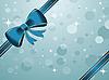 Векторный клипарт: новогодний фон с синим бантом