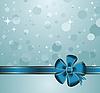 Векторный клипарт: новогодняя открытка с синим бантом