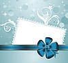 Christmas card with blue bow