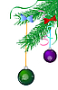 Vector clipart: Green Christmas branch with balls