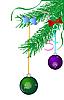 Векторный клипарт: зеленая ветка с елочными шарами