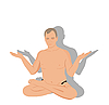 Vector clipart: Yogas the man sits and meditates