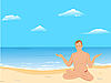 Vector clipart: Yogas the man sits on beach and meditates