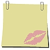 Vector clipart: stick and paper clip with trace of lips