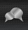 Vector clipart: shiny metallic speech bubbles on aluminum backgrounds