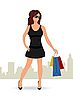 Vector clipart: shopping girl with bags